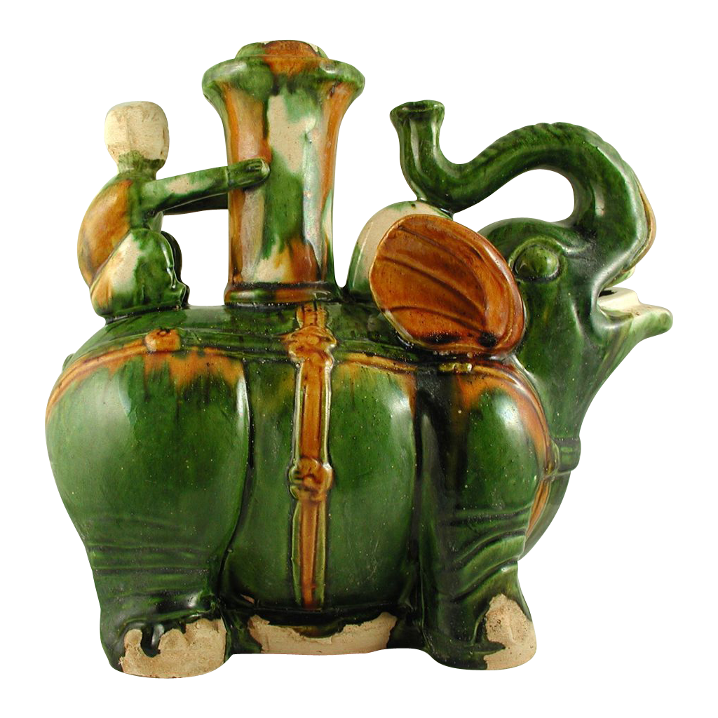 Chinese San Chai Elephant Wine Vessel