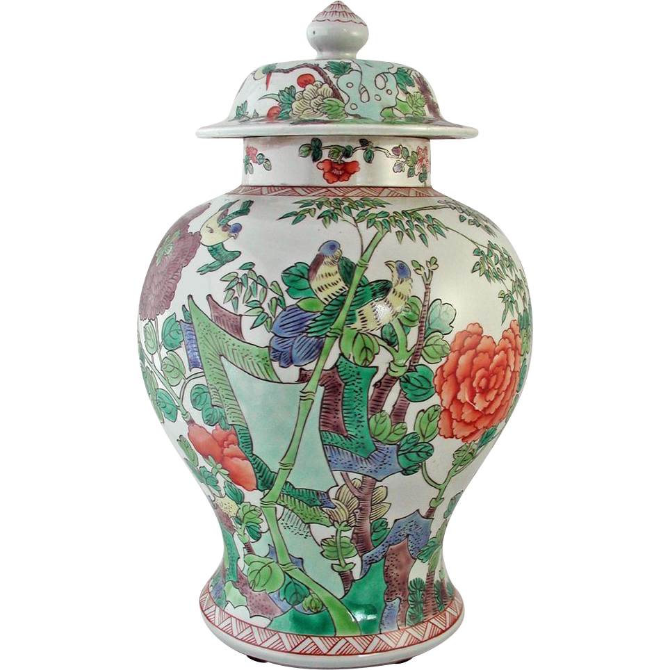 Vintage Chinese Porcelain Vase with Domed Cover - Baluster design