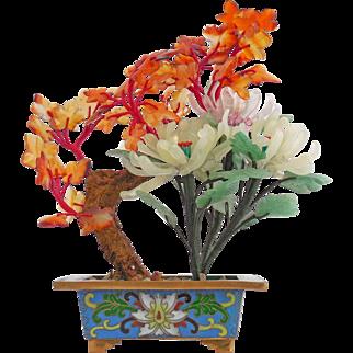 Vintage Natural Jade Flowers in Rectangular Cloisonné Pot