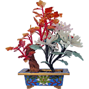 Vintage Natural Jade Flowers in Rectangular Cloisonné Pot
