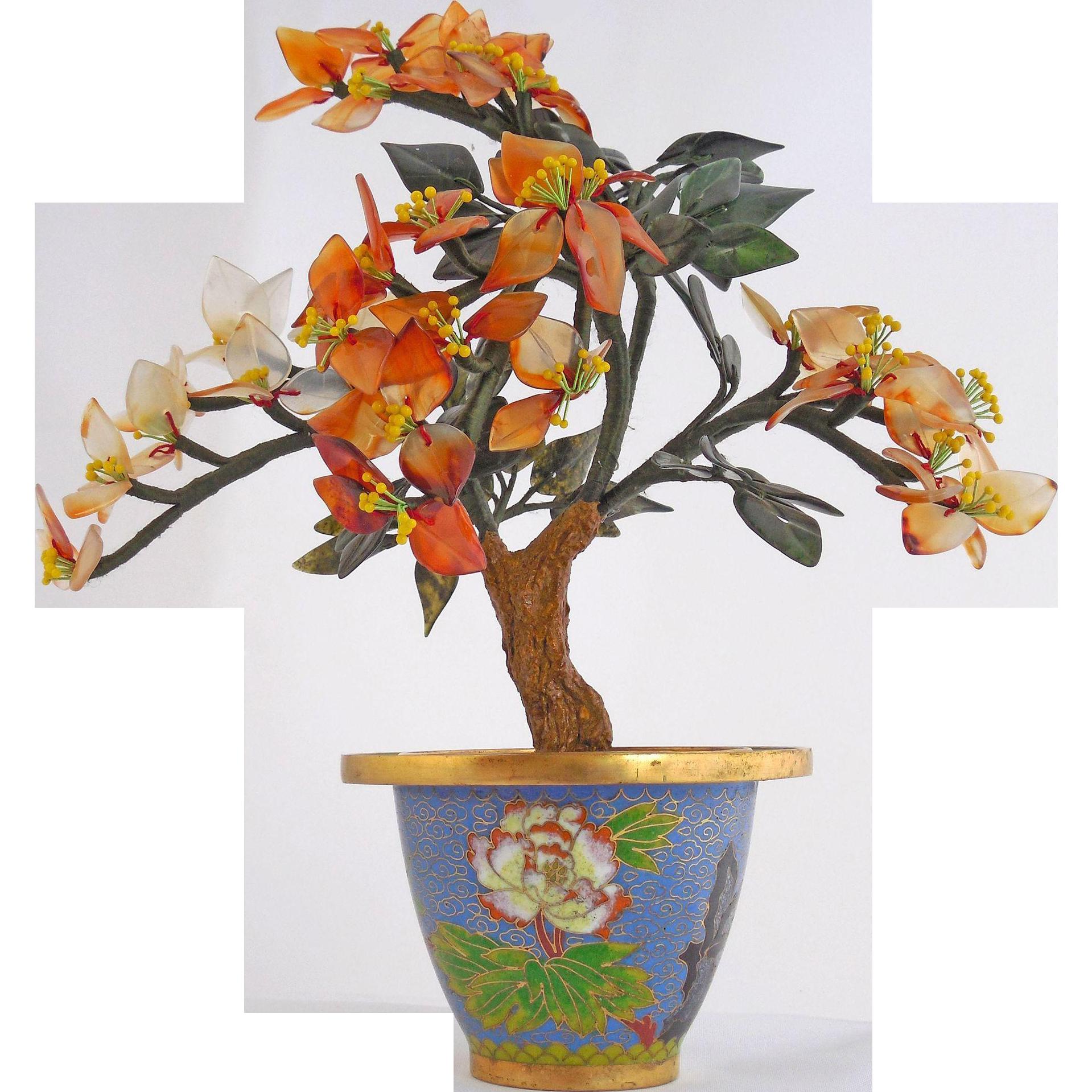 Vintage Natural Jade Flowers in Round Cloisonné Pot