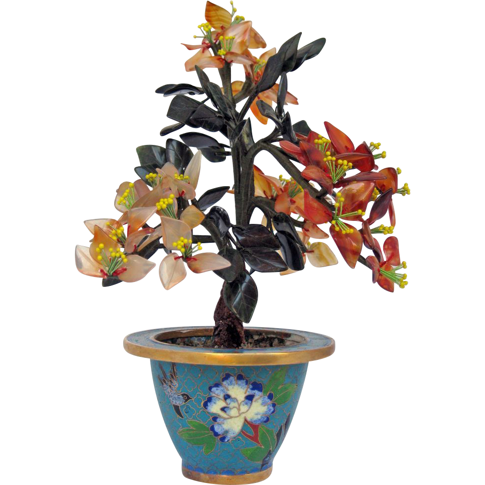 Vintage Natural Jade Flowers in Round Cloisonné Pot from jelitaarts on Ruby Lane