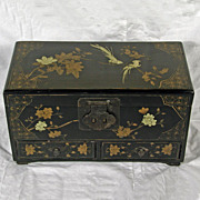 Chinese Lacquer Box - Wood and Leather