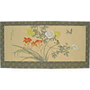 Vintage Chinese Hand Painted Silk Butterflies and Flowers