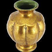 Vintage Anthony Freeman Signed Gold Leaf Ceramic Vase