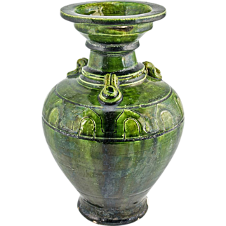 Vintage Chinese Ceramic Green Vase