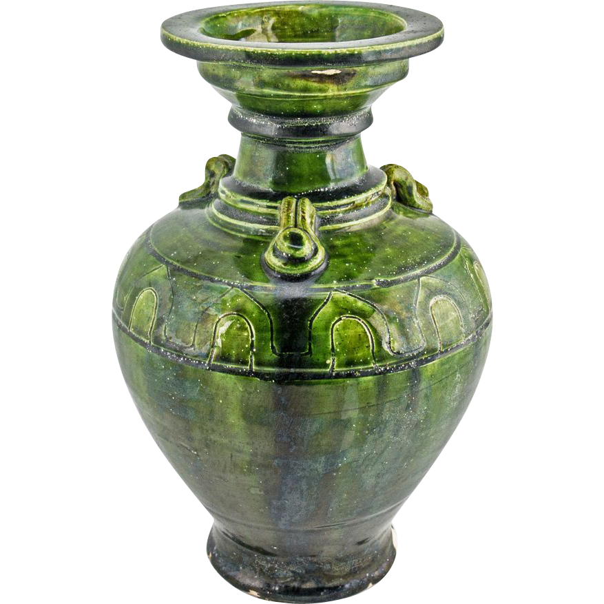 Vintage Chinese Ceramic Green Vase From Jelitaarts On Ruby