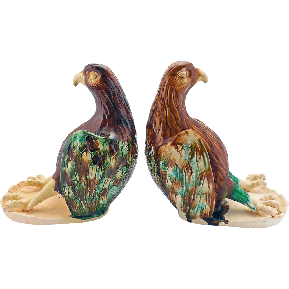 Vintage Chinese Ceramic Bird Bookends