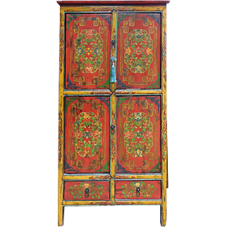 Antique Hand-Painted Tibetan Cabinet