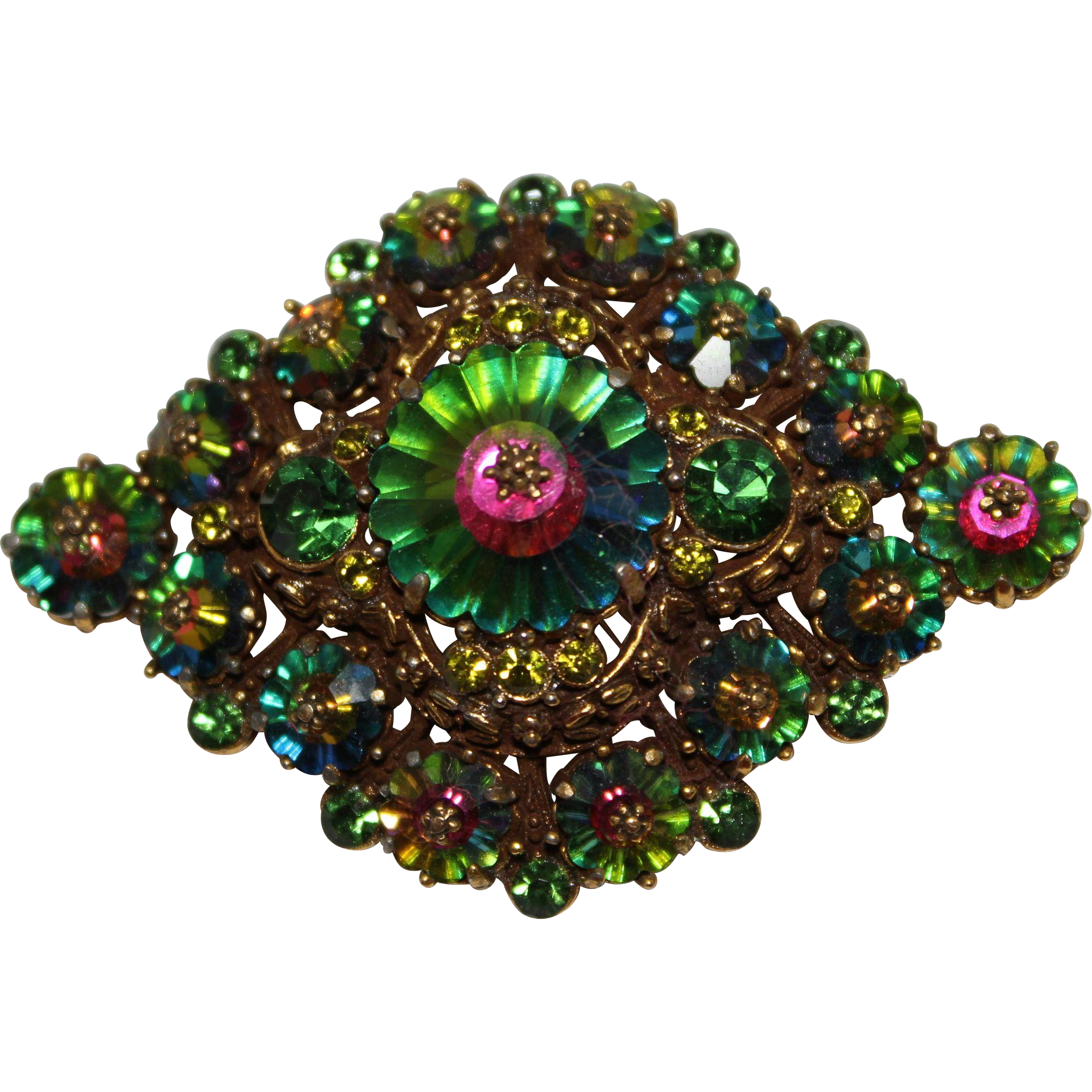 vintage weiss watermelon color margarita rhinestone brooch. Black Bedroom Furniture Sets. Home Design Ideas