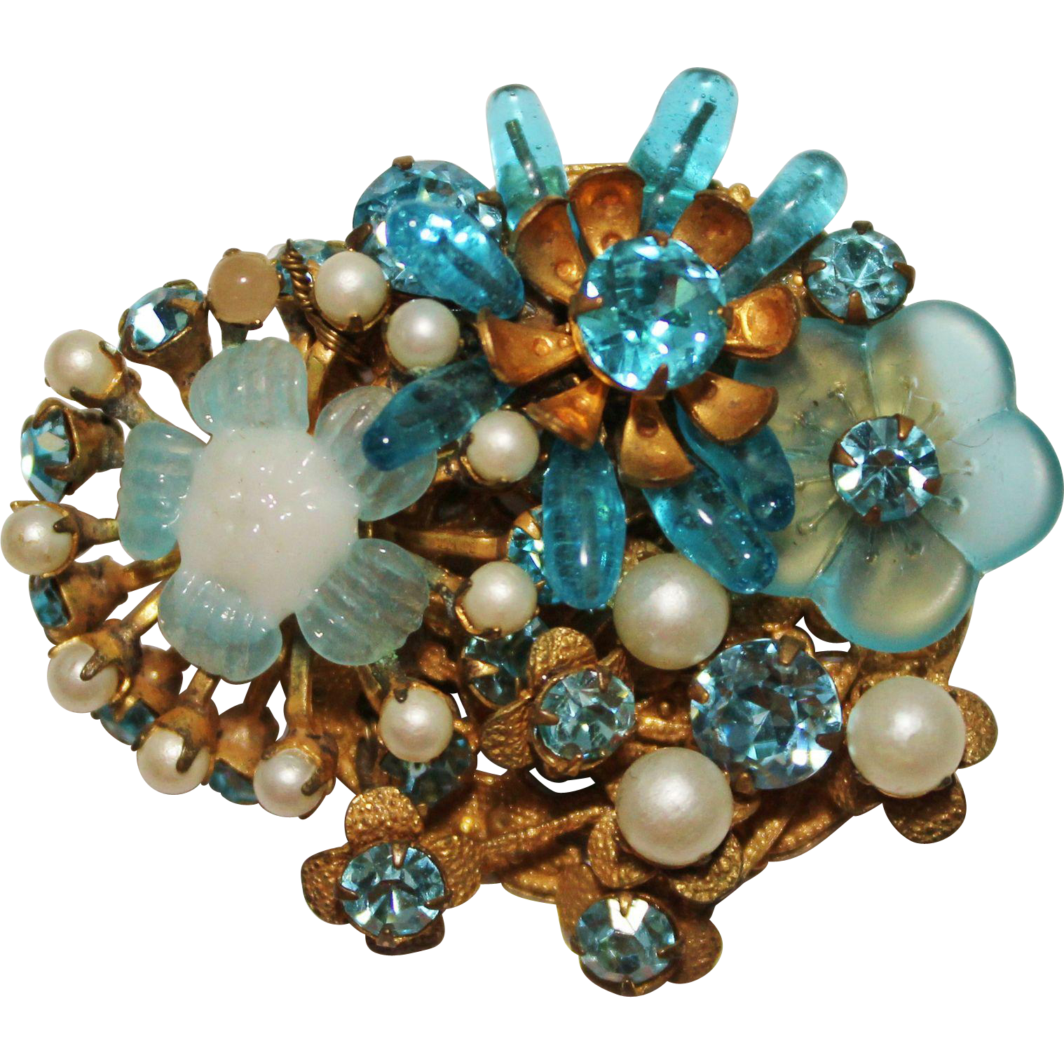 glass montana pieces jewelry bracelet vintage rhinestone brooch blue art deco