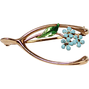 Vintage 14k YG Enamel Flower Wishbone Brooch Pin