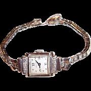 Vintage 14K White Gold Ladies Hamilton Diamond Wristwatch, .48 CTW
