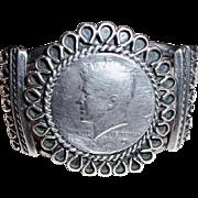 Vintage Navajo Native American Kennedy Half Dollar Sterling Cuff Bracelet