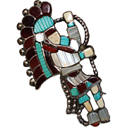 Vintage J.A. Calavaza Zuni Indian Inlay Snake Dancer Ring, Size 7, 1970's