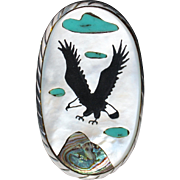 HUGE Vintage Zuni Indian Sterling Silver MOP Inlay Eagle Ring Signed R.A.O. Size 7
