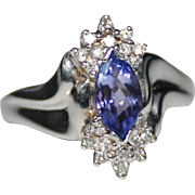 14k White Gold Marquise Tanzanite & Diamond Ring, Size 7, 3.9 Grams, 1 CTW