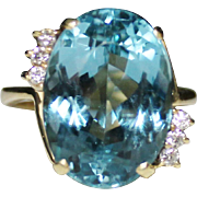 Estate 18k Yellow Gold Blue Topaz Diamond Cocktail Ring, Size 9.5, 16.73 CTW, 11 Grams