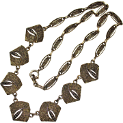 Art Deco Sterling Theodore Fahrner Original 925 Marcasite Filigree Necklace, 16""