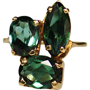 Estate 14k Yellow Gold Green Tourmaline Ring, Multi Shaped Stones, Size 5.5, 3.73 CTW