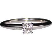 14k White Gold Diamond Solitaire Engagement Ring, Round Brilliant .25 Carats