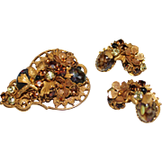 DEMARIO Gilt Filigree Flower Pinecone Art Glass Rhinestone Brooch Earrings Set