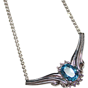 Blue Topaz & Diamond 10k White Gold Necklace, 4.1 Grams, 1.04 CTW