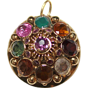 Vintage 14k Yellow Gold Thai Princess Harem Pendant Multi Gemstone, 5.6 Grams