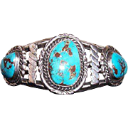 Vintage Large Navajo Native American Sterling Silver Turquoise Cuff Bracelet