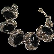 Vintage SCHIAPRELLI Black Glass Silver Leaf Bracelet
