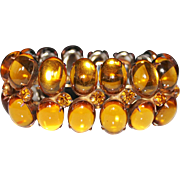 Vintage Amber Glass Cabochon Rhinestone Bracelet, Couture, High End, Luscious