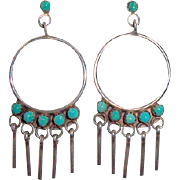 Vintage Zuni Indian Sterling Silver Turquoise Hoop Earrings Signed M. H. Vacit