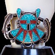 Vintage Navajo Indian Multi Stone Chip Inlay Kachina Bracelet, Turquoise, Coral & Jet