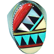 Vintage Signed Zuni Indian Sterling Silver Multi Stone Inlay Ring, Turquoise, Spiny Oyster, Jet, Size 8.75