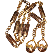 """Antique Victorian Gold Filled GOLDSTONE Double Fob Watch Chain Necklace, 19"""""""