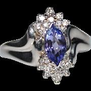 14k White Gold Marquise Tanzanite & Diamond Ring, Size 7, 3.9 Grams, 1 CTW