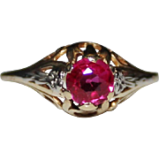Art Deco 10k Yellow & White Gold Filigree Synthetic Ruby Ring, 1.7 Grams