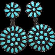 LARGE Round Dangle Navajo Petit Point Sleeping Beauty Turquoise Earrings, JPP
