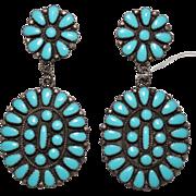 LARGE Oval Dangle Navajo Petit Point Sleeping Beauty Turquoise Earrings, JPP
