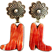 ALEX SANCHEZ Navajo Sterling Silver Spiny Oyster Cowboy Boot Concho Earrings