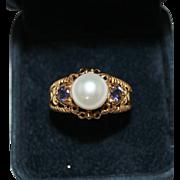 Elegant 14k Yellow Gold White Pearl & Tanzanite Ring, Size 10, 6.4 Grams, 10mm