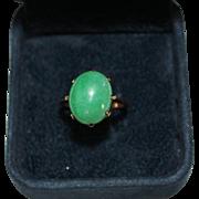 Vintage 14k Rose Gold Apple Green Jade Cabochon Ring, Size 6, 3.1 Grams