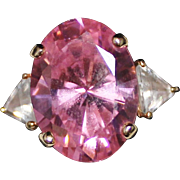 Gorgeous 10k Yellow Gold Pink & White CZ Cocktail Ring, Size 8, Pink Ice, 5.7G