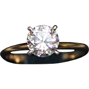 Lovely 14k Cubic Zirconia CZ Solitaire Engagement Ring, 1 Carat, Size 7.25