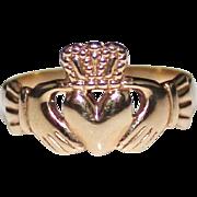 Vintage 9k 9ct Rose Gold Irish Claddagh Ring, Size 5.5