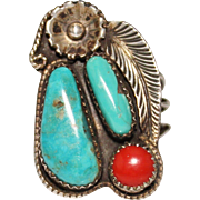 Kenny Jack Navajo Turquoise & Coral Sterling Silver Ring, Southwest, Size 8