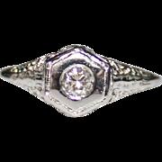 Art Deco 14k White Gold Diamond Filigree Engagement Ring, .15 CTW, Size 6 Bridal