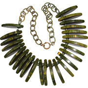 "Vintage Spinach Green Bakelite Cleopatra Bib Necklace, Celluloid Chain, 17"""