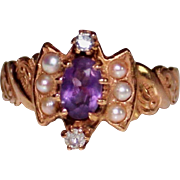 Antique Victorian 14k Rose Gold Amethyst, Diamond & Seed Pearl Ring, 6.75