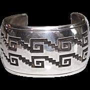 Navajo Indian Charlie John Sterling Wide Cuff Bracelet, Step Design, 95.3 Grams